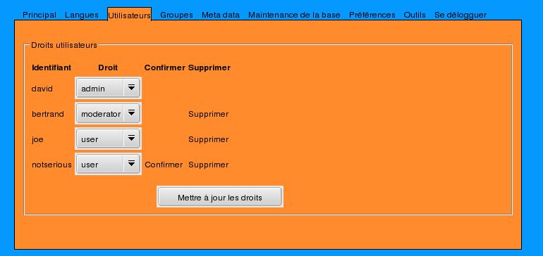 Admin user panel