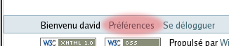 Preferences link