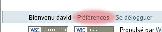 Preferences link